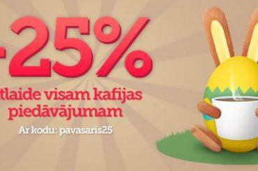 """Salonveikalā """"Kafijas Draugs"""" -25% atlaide visam kafijas piedāvājumam"""