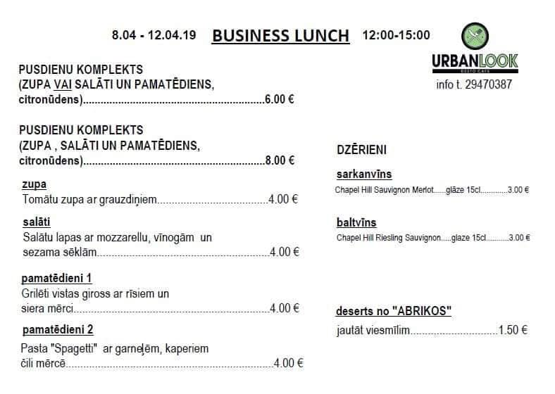biznesa pusdienu piedavajums