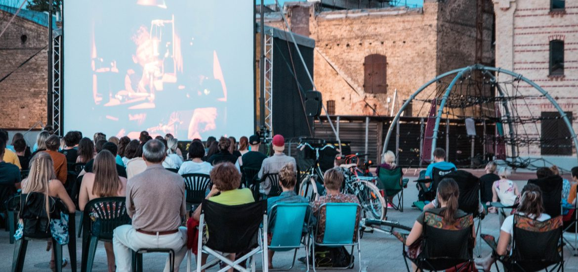 open air cinema at spikeri quarter in Riga